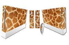 Haute qualité vinyle autocollant decal skin set pour nintendo wii console-giraffe print