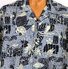 Hawaii Brand Hawaiian Shirt XL Blue Turtles Octopus Fish Outrigger Makau Tapa