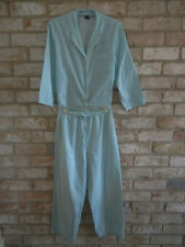 HALSTON womens S Aqua stripe P.J. COTTON Pajama Set