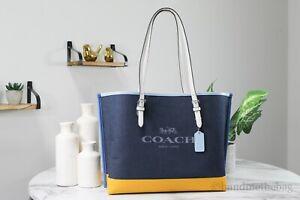 Coach (C4087) Mollie Canvas Colorblock Denim Ochre Multi Shoulder Tote Handbag