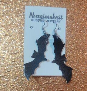 Halloween Handmade Black Bat Earrings Faux Leather
