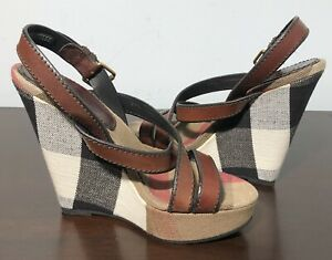 Burberry 'Warlow' Platform Wedge Sandals Size 8.5 US/ 39.5 EUR
