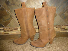 "Womens Naughty Monkey Sz 8 Brown Leather Boots Cowboy 3.5"" Heels"