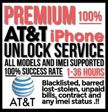 AT&T Premium 100% iPhone Factory Unlock Service 1-36 hours All Imei