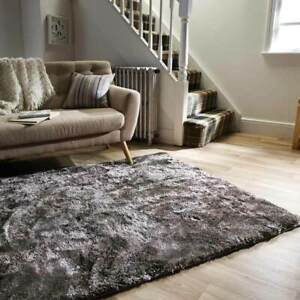 Serenity Supersoft Chunky Shaggy Rugs Crushed Velvet Look Silver 80x150cm