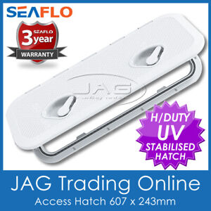 SEAFLO WHITE ACCESS HATCH & LID 607 x 243mm - Boat/Marine/Caravan/RV/Storage