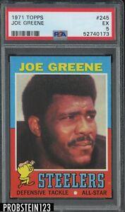 1971 Topps Football #245 Joe Greene Pittsburgh Steelers RC Rookie HOF PSA 5 EX