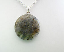 "1 x 25mm LABRADORITE BUTTON BEAD AGATE PENDANT ON A 18"" CHAIN."