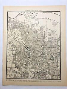 1938 Vintage PORTLAND Authentic Antique Atlas Map - Collier's World Atlas