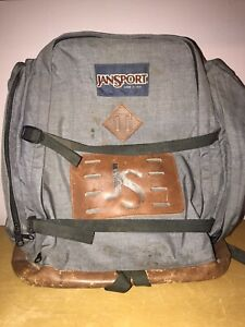 VINTAGE JANSPORT LEATHER BOTTOM BOOK BAG made in USA beautiful wear & patina