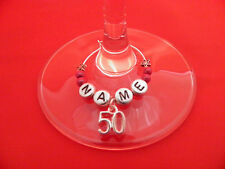 Personalised 50th Birthday Wine Glass Charm with Name in a Gift Card - FREE P&P