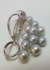 Sterling Silver Vintage Brooch Signed Mikimoto Blue Akoya Pearl