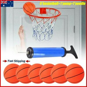 6x Basketball Small Mini Children Inflatable With Pump Kids Sport Toy Indoor Set