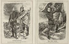 WW1 WWI Original Cartoons x2 Punch 1914/18 World War King Albert of Belgium 8x10