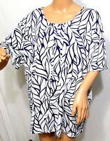 Southern Lady Women PLus Size 1x 2x 3x Navy Blue White Floral Top Blouse