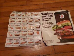 2 sheets of Burger king coupons. Exp: 1/10/2021