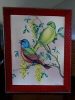 "MCM 1940's ? Picture Red Wood Frame Vincent Birds Painted Bunting 10""x13"""
