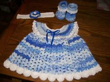 Handmade Crochet Baby Girl Dress Set.Blue and white, fits approx. 6 mos.