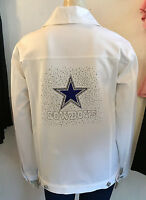 NFL DALLAS COWBOYS Womens Premium Blinged White Jean Jacket NWT $180 SM-3X