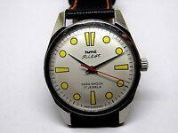 HMT PILOT MEN,S STEEL HAND WENDING WHITE DIAL MADE INDIA WATCH RUN ORDER