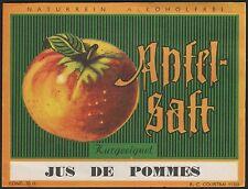 Etikett für Apfelsaft / Jus de Pommes / apple juice label - von ca.1950 # 861