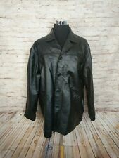 Leather USA Mens 4XL Classic Jacket Button Black Collared