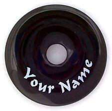Personalized 40mm Black Agate Stone Donut Pendant - Custom Engraved - Doughnut