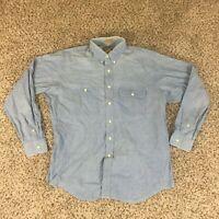 VTG 90s Ralph Lauren Chaps Frontier Men Sz L Blue Western Work Shirt Chambray