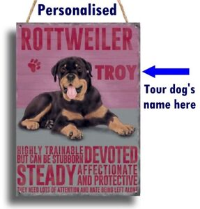 PERSONALISED Rottweiler Dog Breed Plaque Sign gift ANY NAME wall door vintage