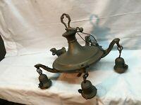 Vintage 1920s Art Deco  5 Light Brass Pan Light Fixture for Parts Or Repair