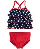 Carters 4th of July Patriotic Swim Suit Tankini 2pc Baby Girls Size 3 6 9 Months