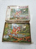 Rare Vintage Disney Wooden Jigsaw Puzzle Bambi & The Butterfly No 23 1960s