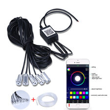 10pcs 10in1 RGB LED+8M Car Decor Neon EL Fiber Optical Strip Light App Control