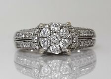 14K SOLID WHITE GOLD NATURAL DIAMOND CLUSTER RING 7.3 GRAMS 2.40TCW (#53E)