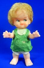 Vintage Hong Kong Plastic Doll With Green Dress & Original Underwear Blonde
