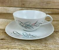 Vtg Kokura Ware Glencove 1706 Coffee Tea Cup Saucer  Retro Atomic Dinnerware