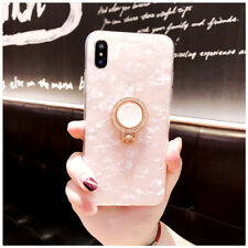 Luxury Bling Glitter Marble Rhinestone Ring Stand Holder Soft Cell Phone Case