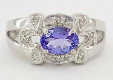 0.77 ct 18K White Gold Oval Tanzanite & Round Diamond Engagement / Fashion Ring