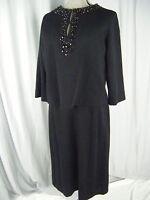 LEE RICHARD Vtg 50-60s Black Beaded Knit 2 pcs Dress-Bust 40/ L