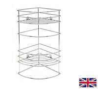 2 TIER CORNER BATH SHELF CHROME SHOWER CADDY STORAGE TIDY BASKET ORGANISER RACK