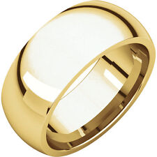 Half Round Wedding Band 8mm 14K Yellow Gold Wide Ring Comfort Fit Men or Ladies