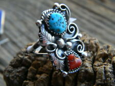 turquoise @ coral size 8 Sterling silver Navajo made ladies ring