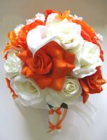 17 piece Wedding Bouquet Bridal Silk flowers set ORANGE IVORY CALLA LILY package
