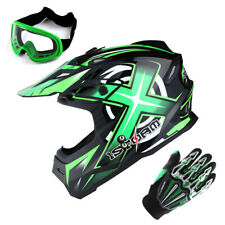 1Storm Adult Motocross Helmet Motorcross MX BMX Bike Racing Green+Gloves+Goggles