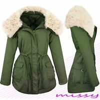 NEW Womens  Faux Fur Trim Khaki MILITARY JACKET Ladies COATS Size 8 10 12 14 16H