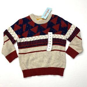 NWT Cat & Jack Sweater Sz 2T Boys Oatmeal Heather Geometric Crew Neck Pullover