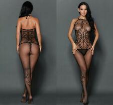 Women Bodystocking Lingerie bodysuit Seamless Opaque Tattoo Halter Neck Exotic