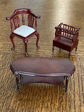 Vintage Dollhouse Furniture Set Living Room Wooden Lot of 3