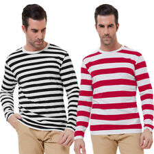 Paul Jones Mens Stylish Striped Long Sleeve Crew Neck Cotton T-Shirt Tops