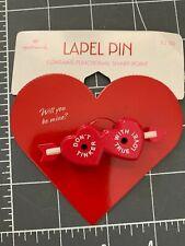 "Vintage Hallmark Red Valentine Lapel Pin ""Don't Tinker With True Love"" 2.5 x .75"